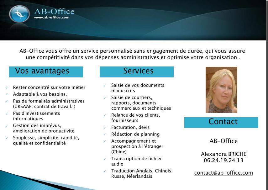 plaquette commerciale AB OFFICE télésecrétariat